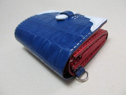 蛇腹ウォレット型押しクロコ青x赤190319a