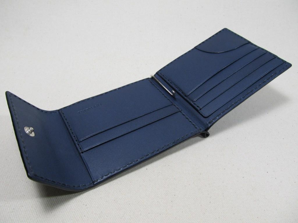 マネークリップフラップ付黒x紺190702