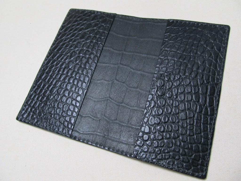 手帳カバー型押しクロコ革黒2106072