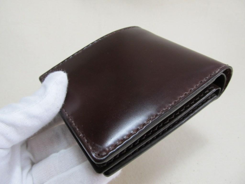 コードバンバーガンディ二つ折り財布カード入れ3面210620逸品
