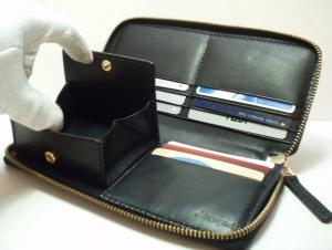 こだわりレザーラウンドファスナー財布小銭入れはボックスコインケース
