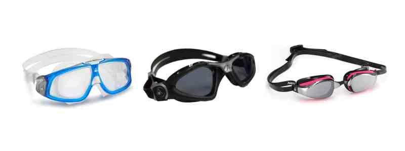 שלושה סוגים של משקפות שחייה: תחרות, אימונים ומסיכה. בתמונה כל משקפות השחייה של Aqua Sphere