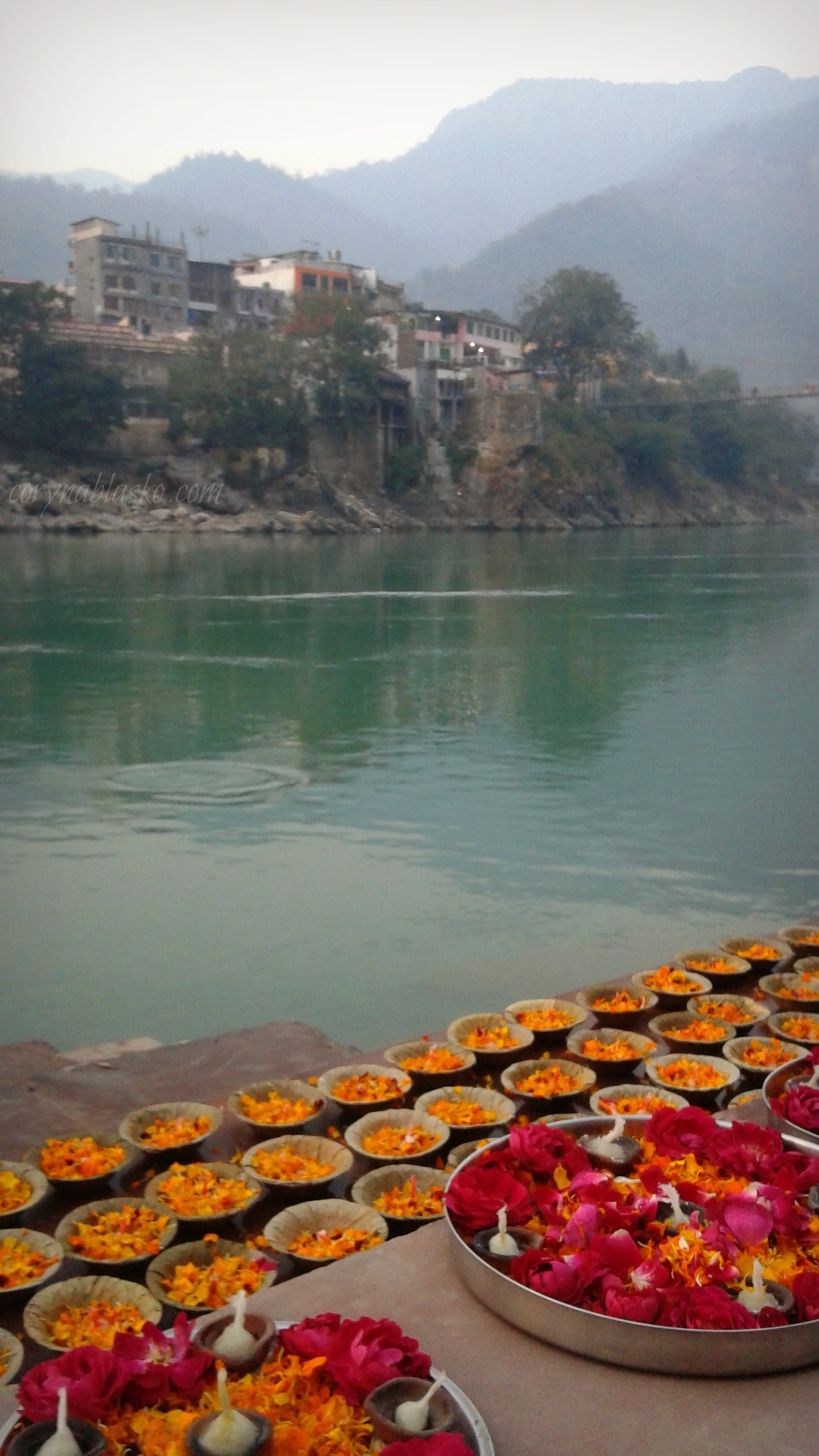 view of Ma Ganga and aarti preparations, Rishikesh