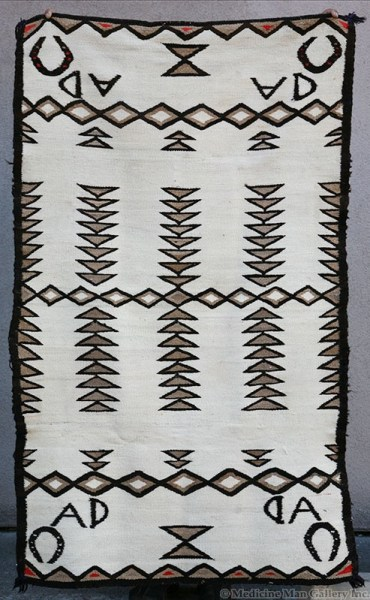 Navajo Double Saddle Blanket with Horseshoe Pictorials and the Initials AD