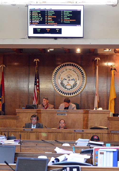 Navajo Nation Council Delegate Leonard Tsosie, left, and agent of the override bill that sought to amend language requirements within the Navajo Nation Election Code, watch the final votes get displayed on a TV monitor, Thursday evening during a special session in Window Rock. The bill failed by a vote of 13-5. (Times photo - Donovan Quintero)