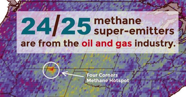 NASA graphic showing concentration of methane in Four Corners area.