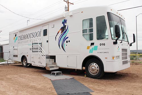 Navajo Times | Terry Bowman One of two of the Tsehootsooi Medical Center mobile units set up during the 70th Navajo Nation Fair in Window Rock, on Thursday, Sept. 8 at the Window Rock Fair Grounds.