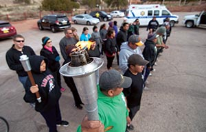 Navajo Police Running Special Olympics Torch Across The