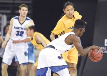 Navajo Times | Donovan Quintero Alchesay's Harley Upton closely guards a Panthers player Feb. 24 at the Prescott Valley Events Center.