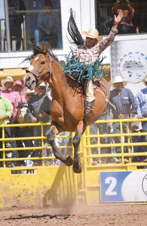 Navajo Times | Ravonelle Yazzie Wyatt Betony flies high as he makes a ride on Sunday during the 72nd Annual Navajo Nation Fair. Betony won the average race in the bareback even as he amassed 222 points.