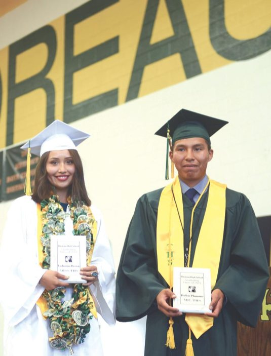 Navajo Times | Paul Natonabah Student athletes LaShawna Brown and Dallen Plummer were recognized as Ms. and Mr. Thoreau Athletes during Thoreau High School graduation ceremony on Saturday, May 18.