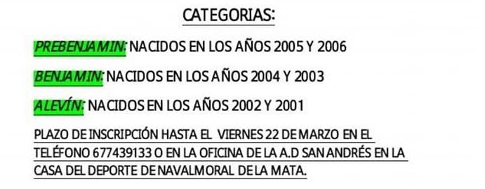 Categorías - I Torneo de Fútbol Sala Ciudad de Navalmoral - Marzo 2018