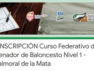 PREINSCRIPCIÓN Curso Federativo de Entrenador de Baloncesto Nivel 1