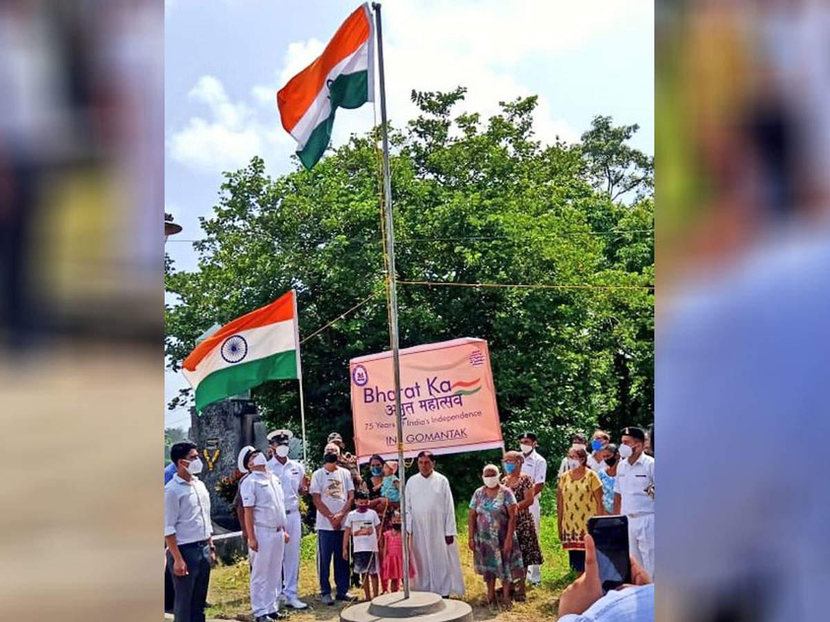 Navy hoists tricolor on Sao Gacinto island: Navy hoists tricolor on Goa Sao Gacinto island People agree after Chief Minister Pramod Sawant