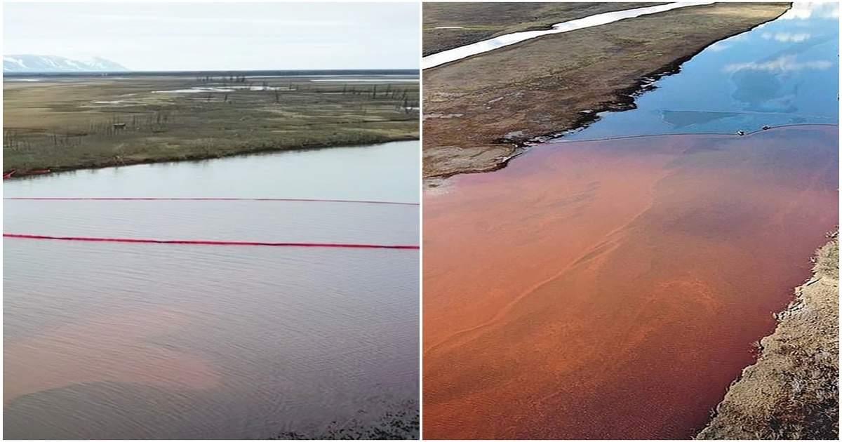 रूस: हजारों टन डीजल मिलने के बाद सफेद से लाल हुई साइबेरियाई नदी