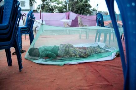 Chakravarthy's stepson Sani, 16, slumbers on a Sunday morning.