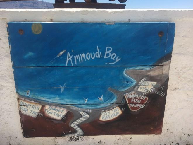 Panneau pour se repérer sur la Ammoudi Bay à Santorin