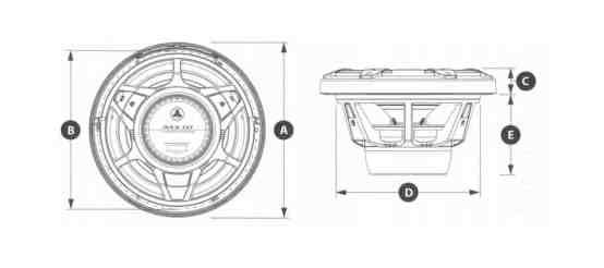 JL Audio M3 Marine Subwoofer Abmessungen