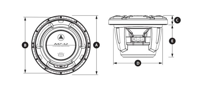 JL Audio M7-12IB Marine Subwoofer Abmessungen