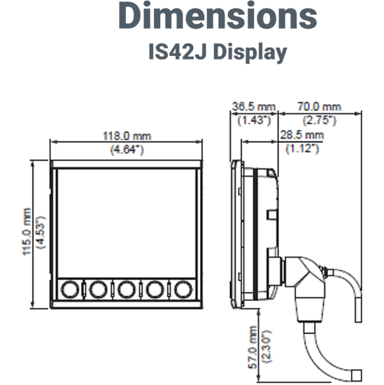 Simrad IS42J Instrumentendisplay Motordaten Abmessungen