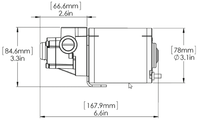 Navico Pump-3 Hydraulikpumpe Abmessungen