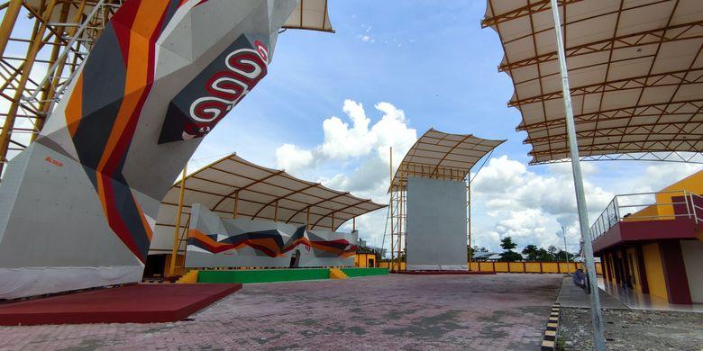 Salah satu venue yang rampung dibangun di Kabupaten Mimika. Venue ini nantinya akan digunakan untuk ajang Pekan Olahraga Nasional (PON) XX Papua yang berlangsung 2-15 Oktober 2021.