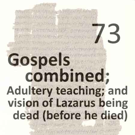 Gospels combined 73 - adultery teaching and vision of lazarus being dead - before he died