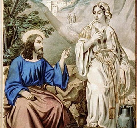 jesus and samaritan woman at the well - square featured