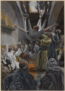 Picture of man being lowered through the roof to Jesus in Capernaum
