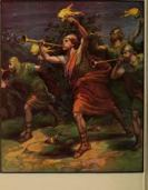Joshua fighting battle of Jericho with trumpets