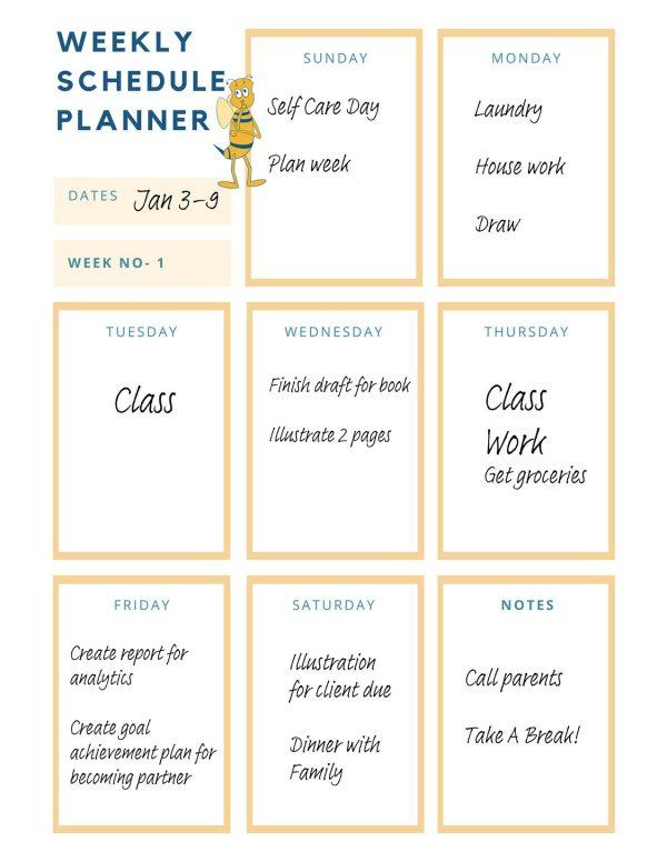 goal-setting worksheet-Weekly Schedule Planner example