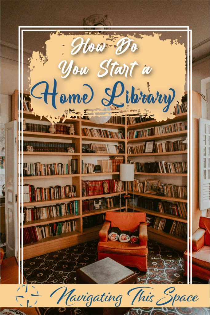 home library with a comfy dull orange sofa