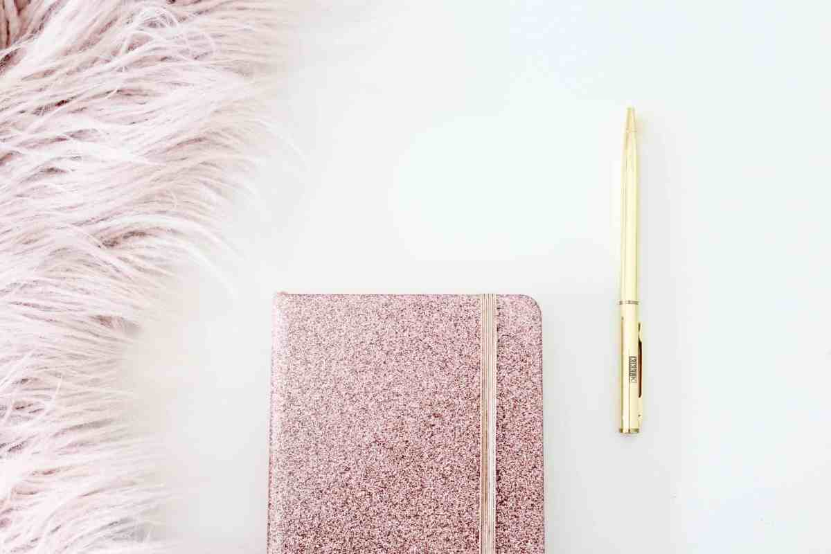 pink fur and sparking journal notebook with a golden pen