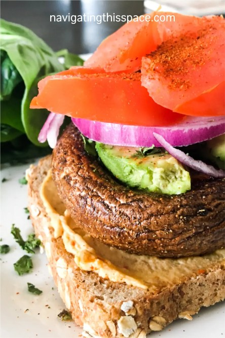 homemade portabella mushroom sandwich