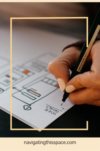 a hand writing goals in a journal