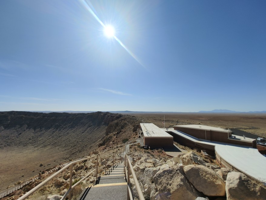 view of the Meteor Crater National Landmark visitor center from the upper observation level