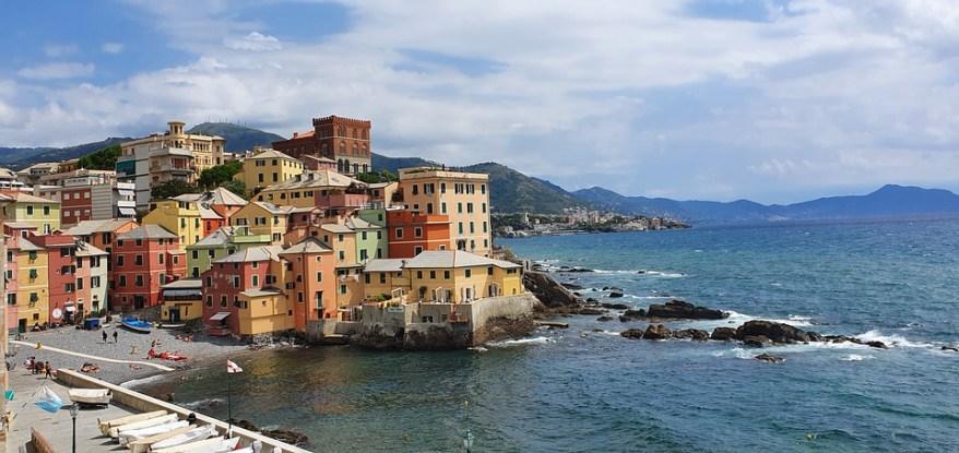 colorful buildings along the coast of Genoa