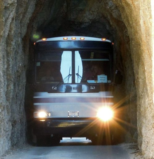 Image of bus in the needles highway tunnel