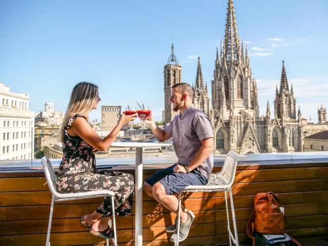Rooftop terrace at Hotel Colón Barcelona