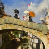 L'opera del 1880 ritrae una giornata di sole a Milano e la passeggiata frivola di alcune donne. Ci restituisce però anche l'idea della vita che si svolgeva intorno a San Marco.