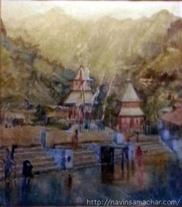 1942 water colour painting of Naina Devi Temple