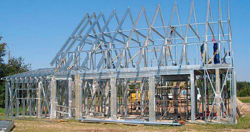 строительство дома из металического каркаса фото