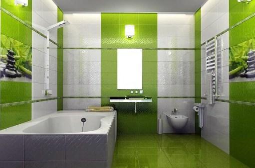Зеленая плитка в ванной. Фото