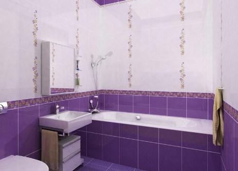 Фиолетовая плитка в ванной комнате. Фото