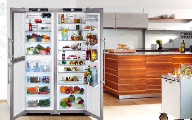 холодильник side by side на кухне. фото