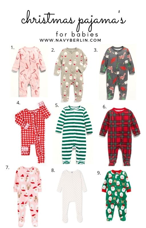 White collage with baby christmas pajama's on it. a guide for christmas pajama's for babies in 2020