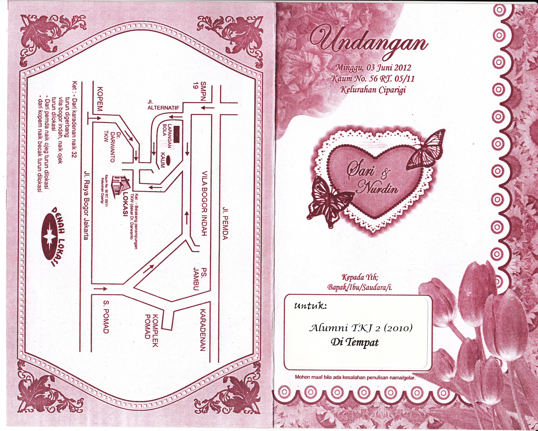Undangan Pernikahan Sari Sartini Nawiez