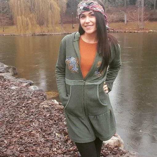 raven-hoodie-model by frozen lake
