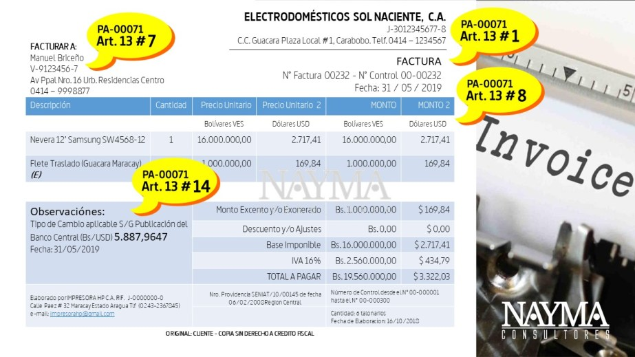 Modelo de factura en divisas y bolivares