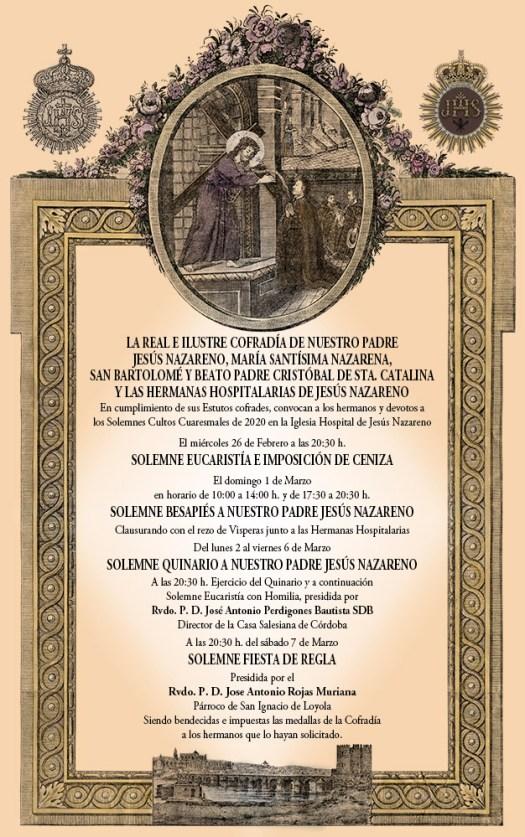 Cartel de Cultos Cuaresmales Cofradía del Nazareno 2020